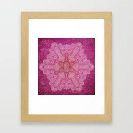 Big paisley mandala in raspberry Framed Art Print