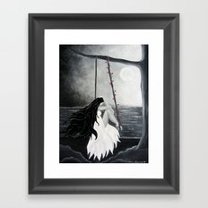 Black and white painting art print Woman Female Moon Dreams midnight dreamy Framed Art Print