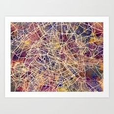 Paris France City Street Map Art Print