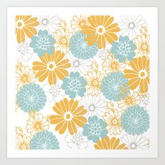 Mustard and tiffany blue flowers Art Print