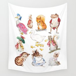 Tales of Peter Rabbit  characters Beatrix Potter 2 farm animals Wall Tapestry