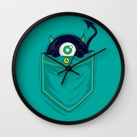 pocket Wall Clocks featuring Pocket Monster by Steven Toang