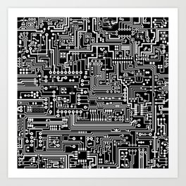 Circuit Board on Black Art Print