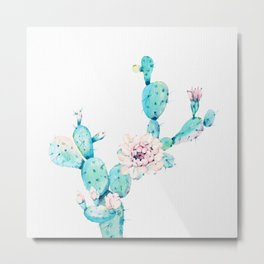 Desert Cactus Rose Metal Print
