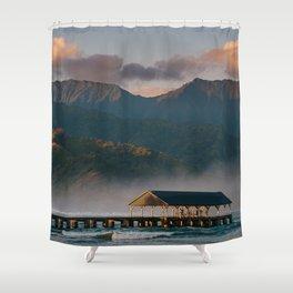 Sunrise over Hanalei Pier  Shower Curtain