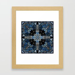 blue symmetric fantasy pattern IV Framed Art Print