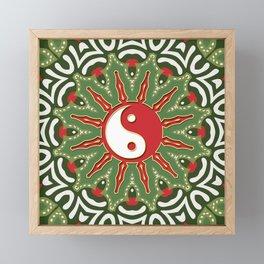 Red Yin Yang Sun Festive Mandala Framed Mini Art Print