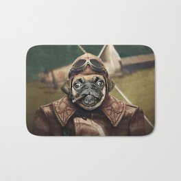 Pete the Pilot Pug Bath Mat