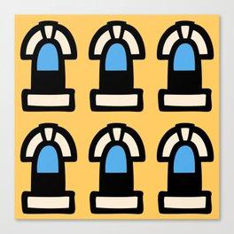 New York Windows Pattern 262 Yellow and Blue Canvas Print