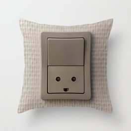 Smiling Power Outlet Throw Pillow