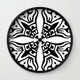 Black and White Scroll Pattern Wall Clock