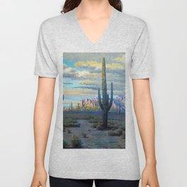 Superstition Mountains and Desert Landscape by John Marshall Gamble Unisex V-Neck