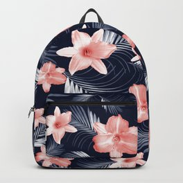 Tropical Flowers Palm Leaves Finesse #6 #tropical #decor #art #society6 Backpack