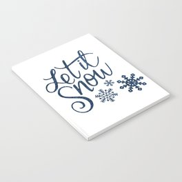 Let It Snow Blue Glitter Typography Winter Notebook