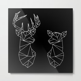 Geometric Stag and Doe (White on Black) Metal Print