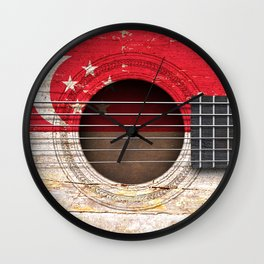 Old Vintage Acoustic Guitar with Singapore Flag Wall Clock