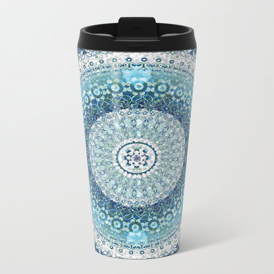 Teal Tapestry Mandala Metal Travel Mug