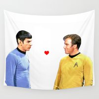 spock Wall Tapestries featuring Kirk and Spock Space Husbands Print by geekgasm
