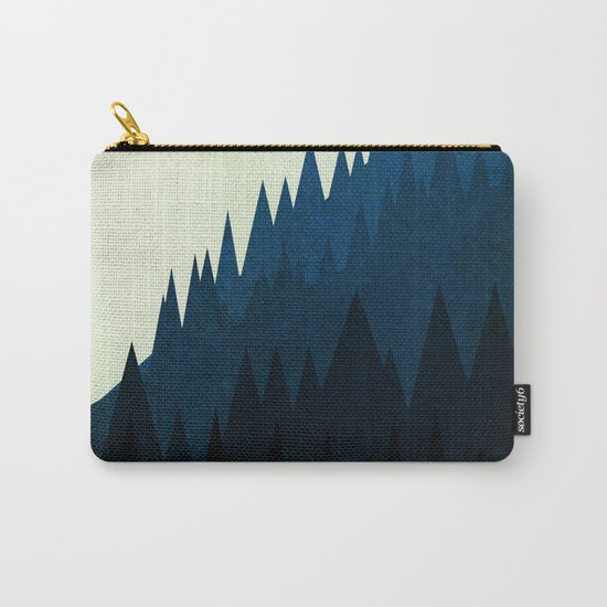 Blue Trees On A Mountain Carry-All Pouch