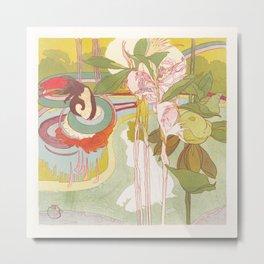Georges de Feure - Vrouw krijgt visioen in een tuin Metal Print