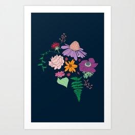 Floral Motif Bouquet Flower Illustration Art Print