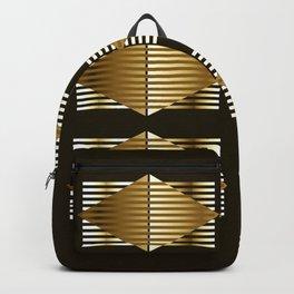 Gold Black Geometric Design Backpack