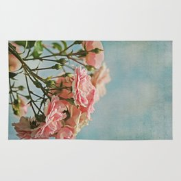 Vintage Inspired Pink Roses in Pastel Blue Sky with French Script Rug