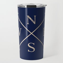 Gold on Navy Blue Compass Travel Mug