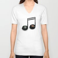 record V-neck T-shirts featuring Music Record by Romayne Robinson