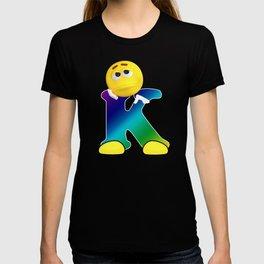 Letter K Alphabet Smiley Monogram Face Emoji Shirt for Men Women Kids T-shirt