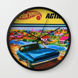 1970 Vintage Hot Wheels Redline Action City Center Poster Wall Clock