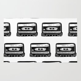 Linocut Cassette Tape black and white minimal retro analog music tape player Rug