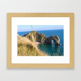 Beach Day at the Jurassic Coast, England Framed Art Print