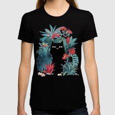 Popoki MEDIUM Black Womens Fitted Tee