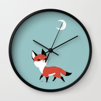 fox Wall Clocks featuring Moon Fox by Freeminds