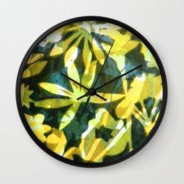 Flower Pattern in Lemon Wall Clock