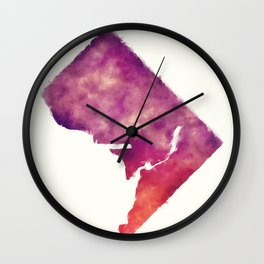 Washington DC city watercolor map in front of a white background Wall Clock