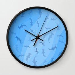 Shark Beach Swimmer | Aerial Illustration Wall Clock