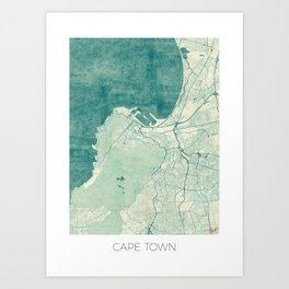 Cape Town Map Blue Vintage Art Print