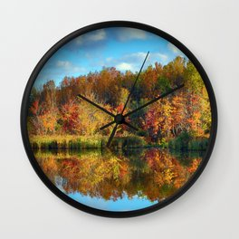 Vibrant Autumn Reflections Wall Clock