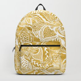 Modern lemon curry watercolor floral hand drawn pattern Backpack