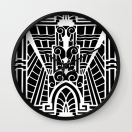 Deco Architectural Pattern, Black and White Wall Clock