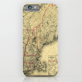Map of Maine, New Hampshire, Vermont, Massachusetts, Rhode Island, Connecticut, Lower Canada (1860) iPhone Case