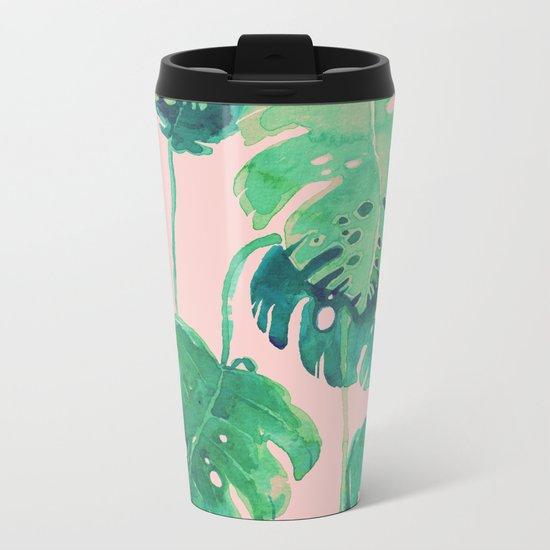 tropical pink Metal Travel Mug