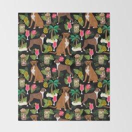 Boxer tiki tropical dog pattern modern pet friendly pet pattern dog breeds Throw Blanket