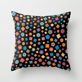 Colorful polygons on Black background Throw Pillow