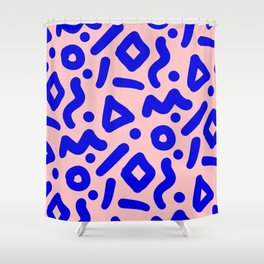 Doodle Pattern - Pink and Electric Blue Shower Curtain