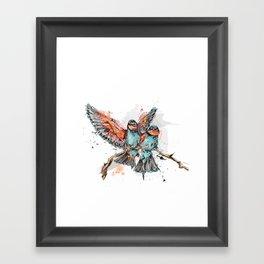 Two birds in a branch Framed Art Print