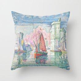 The Port Of La Rochelle, Paul Signac, 1921 Throw Pillow