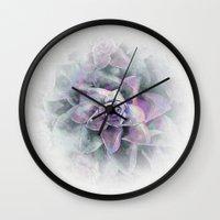 succulents Wall Clocks featuring Succulents by Klara Acel